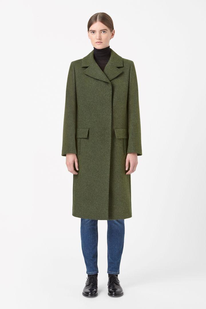 Wide collar wool coat