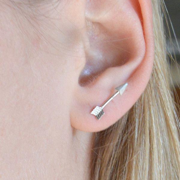Mini Arrow Stud Earrings - Silver - The Faint Hearted Jewelry. $12