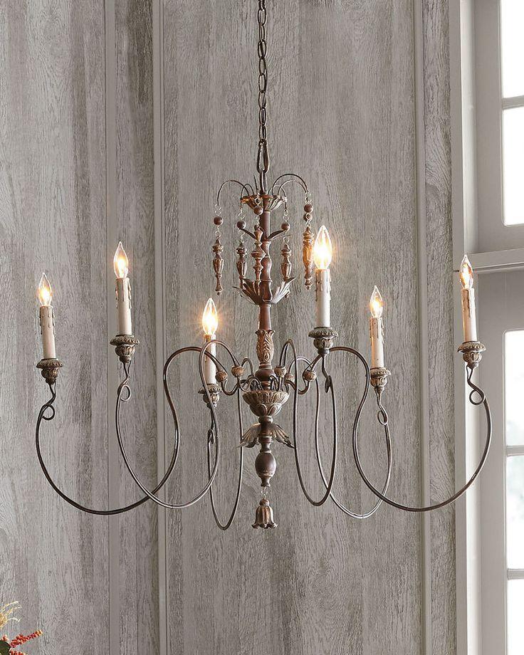 Horchow French Restoration Vintage Exquisite Copper 6 Light Chandelier $450  #na