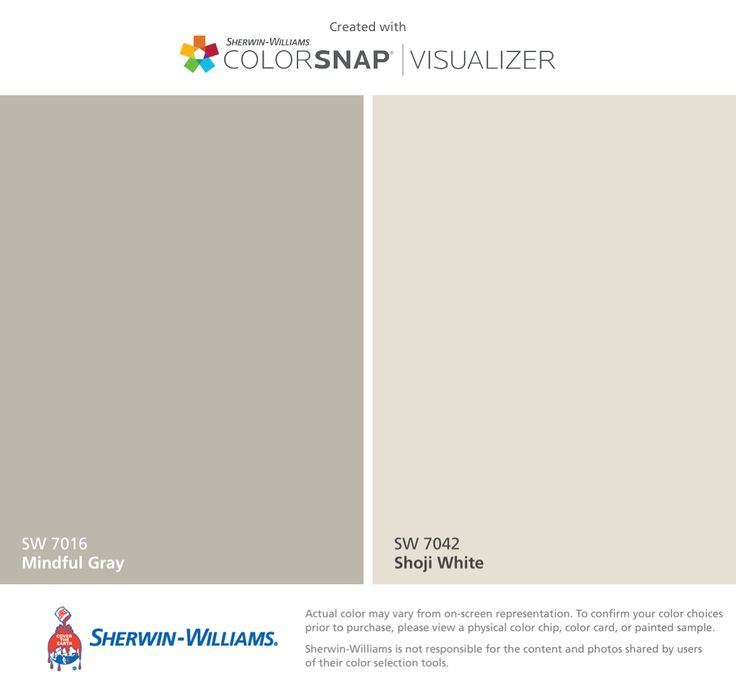 I found these colors with ColorSnap® Visualizer for iPhone by Sherwin-Williams: Mindful Gray (SW 7016), Shoji White (SW 7042).