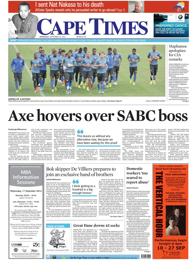 News making headlines: Axe hovers over SABC boss