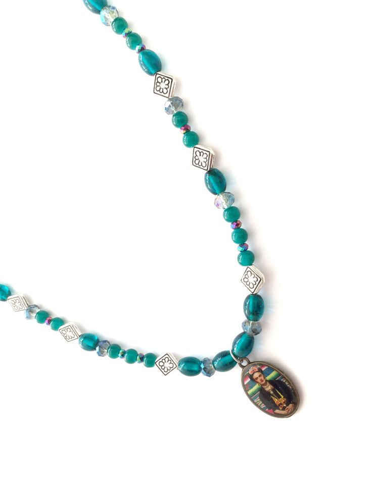 Collana di perline collana di Frida Kahlo teal di Frida Kahlo