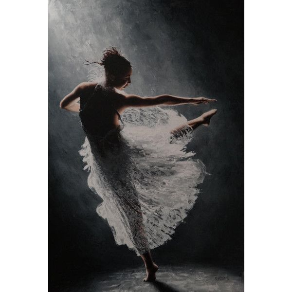 Solitaire fine art contemporary modern dance oil painting ❤ liked on Polyvore
