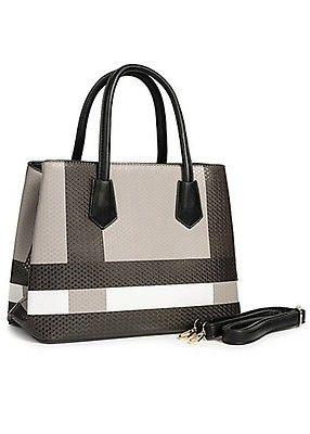 6d6bf1de73caef Styleboom Fashion Damen Tote Bag Colorblock schwarz grau weiss - Art.-Nr.