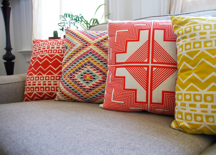 Native Quilt Pillow - Tangerine / Persimmon / Orange - Screen Printed Organic Cotton. via Etsy.