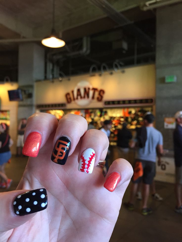 SF Giants inspired nails  https://www.facebook.com/shorthaircutstyles/posts/1759167507707022