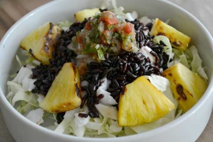 Pineapple Fish Taco Bowl with Black Rice Recipe Main Dishes with green cabbage, cod, pineapple, black rice, salsa