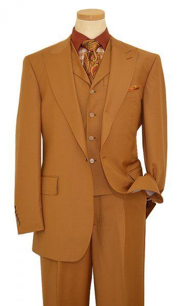 Steven Land Solid Pumpkin With Pumpkin Handpick Stitching Super 150's Wool Suit SL1503
