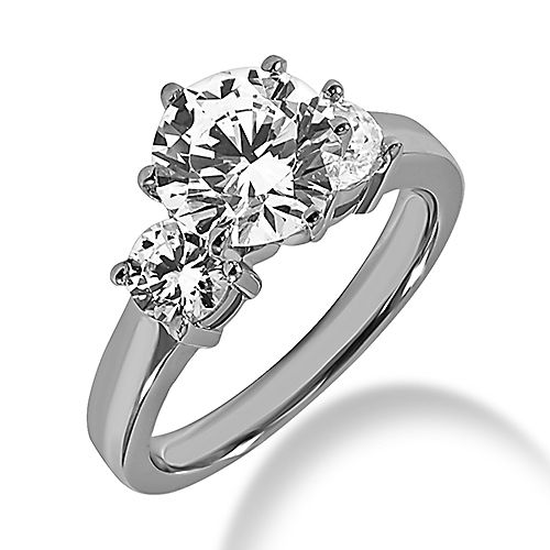 three diamond ring settings with six prong center stone | ... White Diamond Rings 6-Prong 3 Stone Engagement Ring Setting 0.5ct-3ct