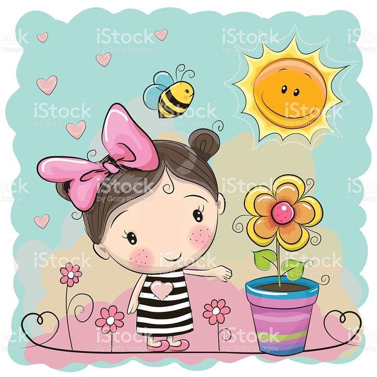 Cartoon Girl on the meadow with flowers vetor e ilustração royalty-free royalty-free