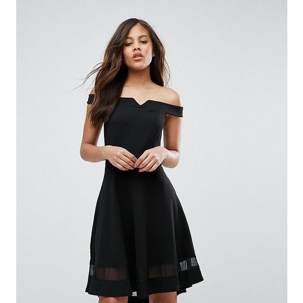 New Look Tall Mesh Bardot Skater Dress (35 AUD) ❤ liked on Polyvore featuring dresses, black, off shoulder skater dress, off the shoulder dress, off the shoulder skater dress, fit and flare skater dress and mesh jersey