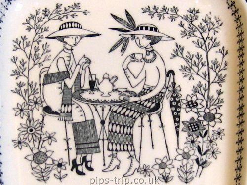 SOLD POTTERY ARCHIVES : Scandinavian Pottery 1 : 1949-1964 Arabia (Finland) 'Emilia' Range Rectangular Plate by Raija Uosikkinen