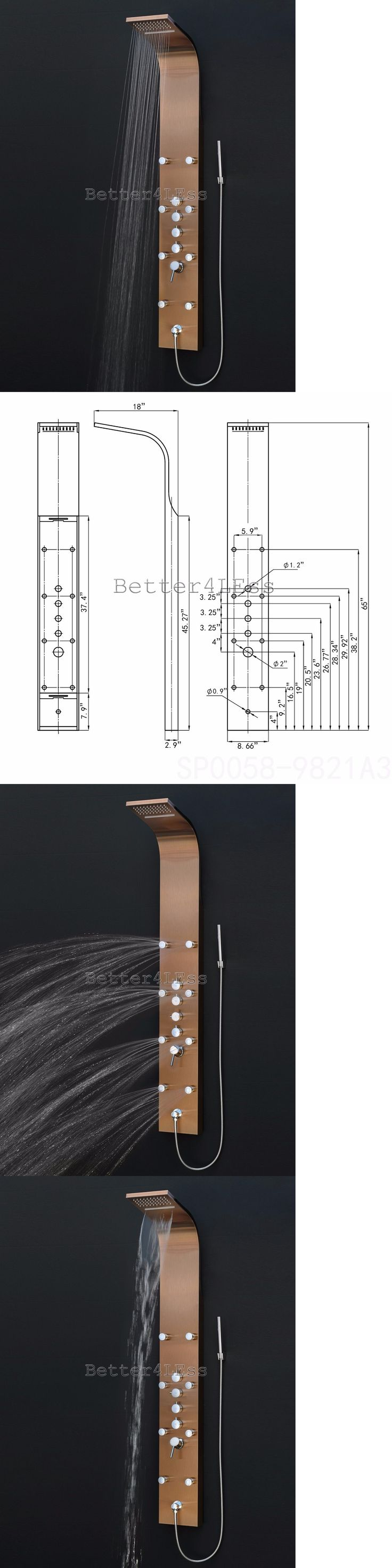 Massagers: Stainless Steel Shower Tower Panel Rainfall Waterfall Shower Head Bronze Finish -> BUY IT NOW ONLY: $249.99 on eBay!
