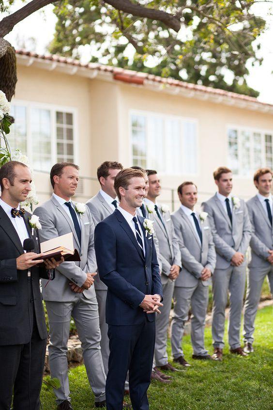 Groom in navy and groomsmen in gray | Groomsmen | | Groomsmen ideas | | Groomsmen outfits | | wedding | #Groomsmen  #wedding http://www.roughluxejewelry.com/