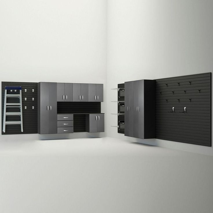 Flow Wall 336 in. W x 72 in. H x 17 in. D Deluxe Cabinet Set in Black/ Silver Carbon (13-Piece)