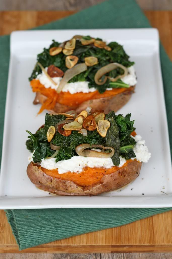Baked Sweet Potatoes Topped with Ricotta, Goat Cheese, Kale, and Garlic Chips