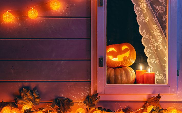 Download wallpapers 4k, Halloween, night, pumpkin, house, Happy Halloween