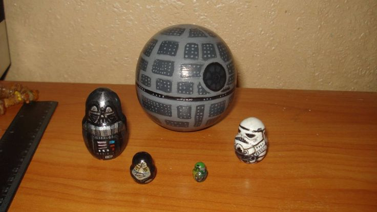 UNIQUE hand painted russian wooden lacquered nesting dolls matryoshka star wars DEATH STAR by Matreshkas on Etsy