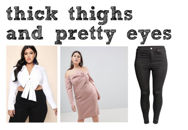 """""""for all my thick thighs and pretty eyes gurlz xx"""" by billiejojefferson ❤ liked on Polyvore featuring ASOS Curve and H&M"""