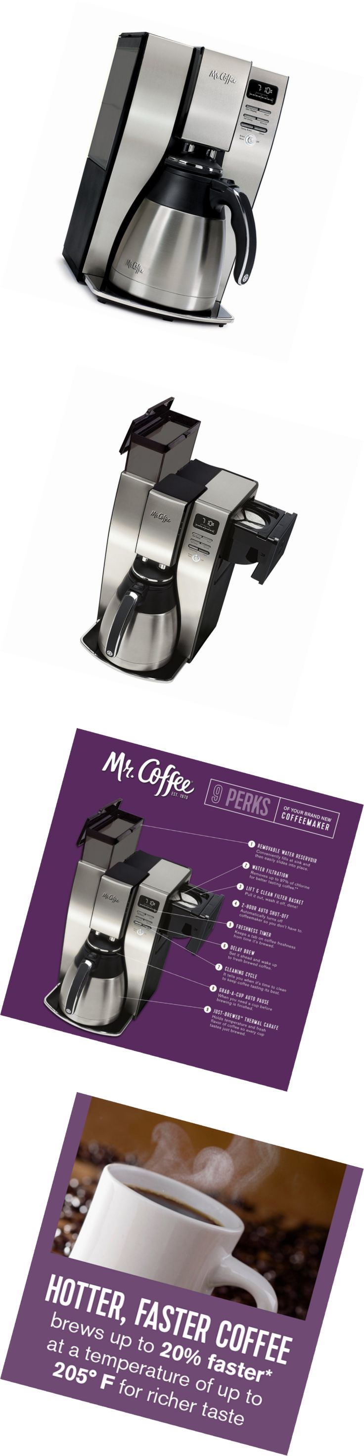 Coffee Makers Automatic 65635: Mr. Coffee 10 Cup Optimal Brew Thermal Coffee Maker, Stainless Steel, Pstx95 -> BUY IT NOW ONLY: $95.71 on eBay!
