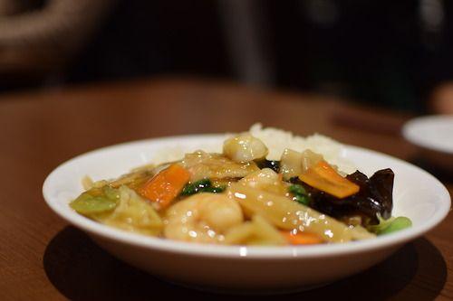 横浜中華街の名店 梅蘭 イオンモール桂川店 五目あんかけごはん mix vegetable and shrimps bowl