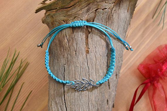Waxed Cotton Cord & Silver Leaf Bracelet  Adjustable Knit