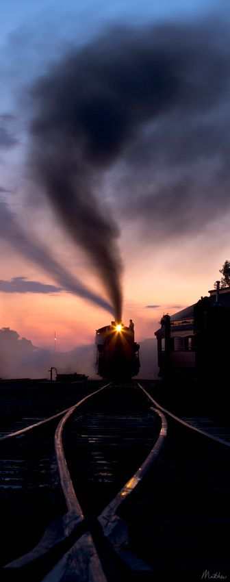 """Once Upon a Time"" - Sunrise in steam locomotive, Strasburg, Pennsylvania"