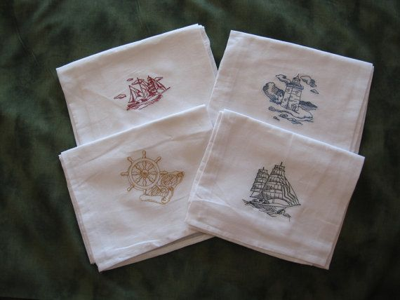 Machine Embroidered Nautical Dish Towel Set 1