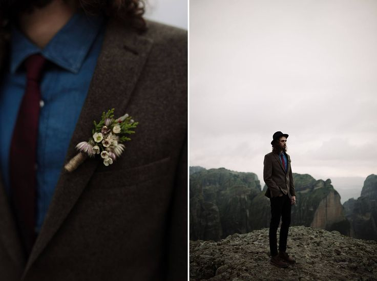 The Groom | Winter Cliffside Elopement at Meteora, Greece