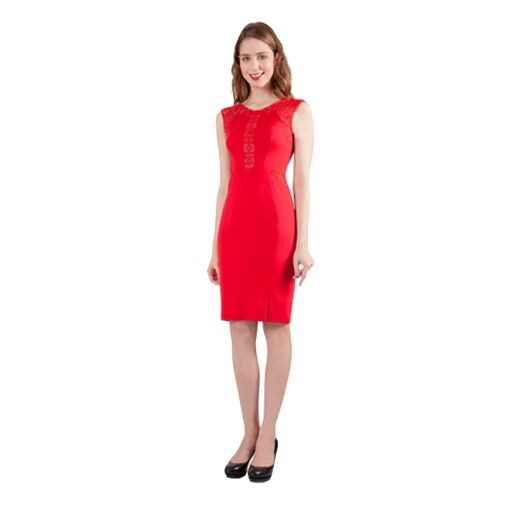 Fitted red dress, add a fascinator and you're ready to go