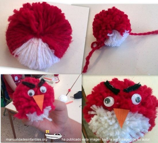 17 best images about crafts pom pom yarn on pinterest - Manualidades con pompones ...