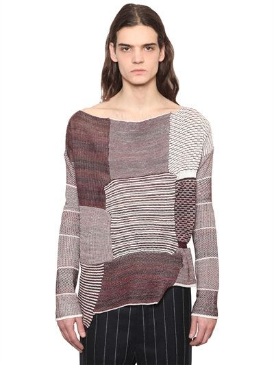 VIVIENNE WESTWOOD Patchwork Wool & Cotton Blend Sweater, Bordeaux. #viviennewestwood #cloth #knitwear