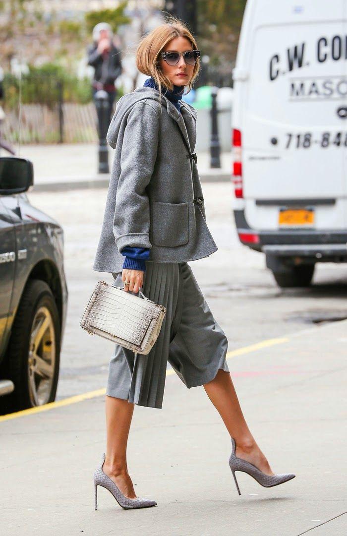 Grey & Navy - Oversized Cropped Grey Hooded Jacket, Navy Turtleneck, Grey Wide-Leg Trouser Shorts, Grey Tab-Top Stilettos, Grey Cat-Eye Sunglasses, & Silver Alligator Embossed Leather Top-handled Box Satchel