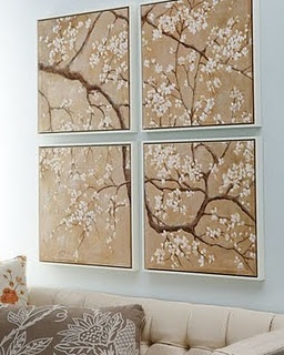 DIY Wall Art -- Mod Podge a poster onto smaller canvas pieces.