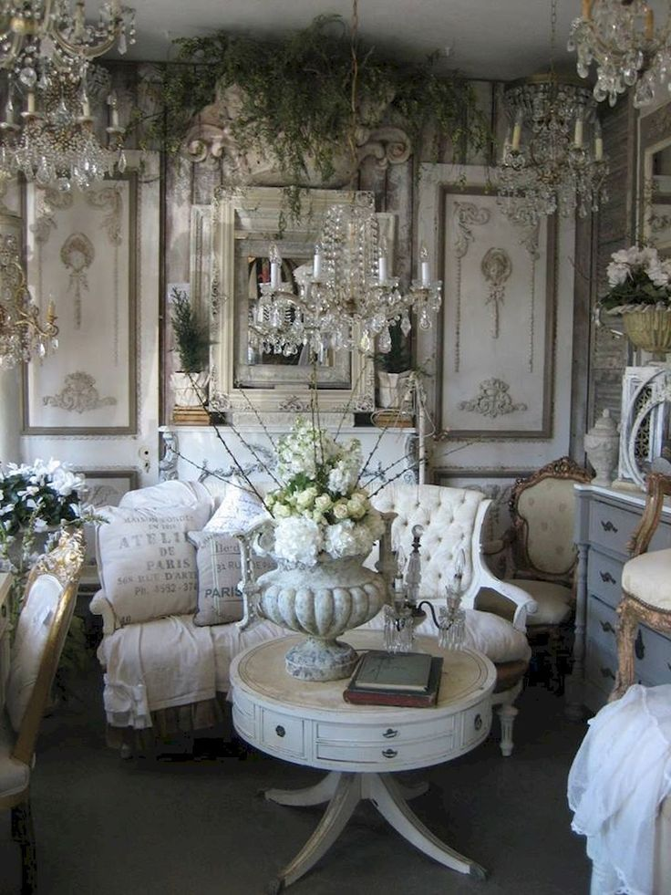 Romantic Room Designs: Fancy French Country Living Room Decorating Ideas (53