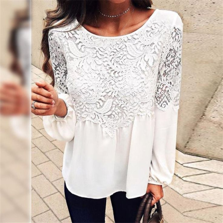>> Click to Buy << 2017 Autumn Long Sleeve Blouses Women Ladies Sexy Tops Fashion White O Neck Lace Patchwork Plain Blouse chemise femme #706 #Affiliate