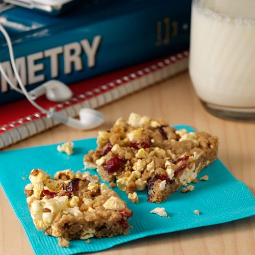 Orville's Power Crunch Bars: All the favorite ingredients of oatmeal cookies plus dried cranberries and Orville's popped corn