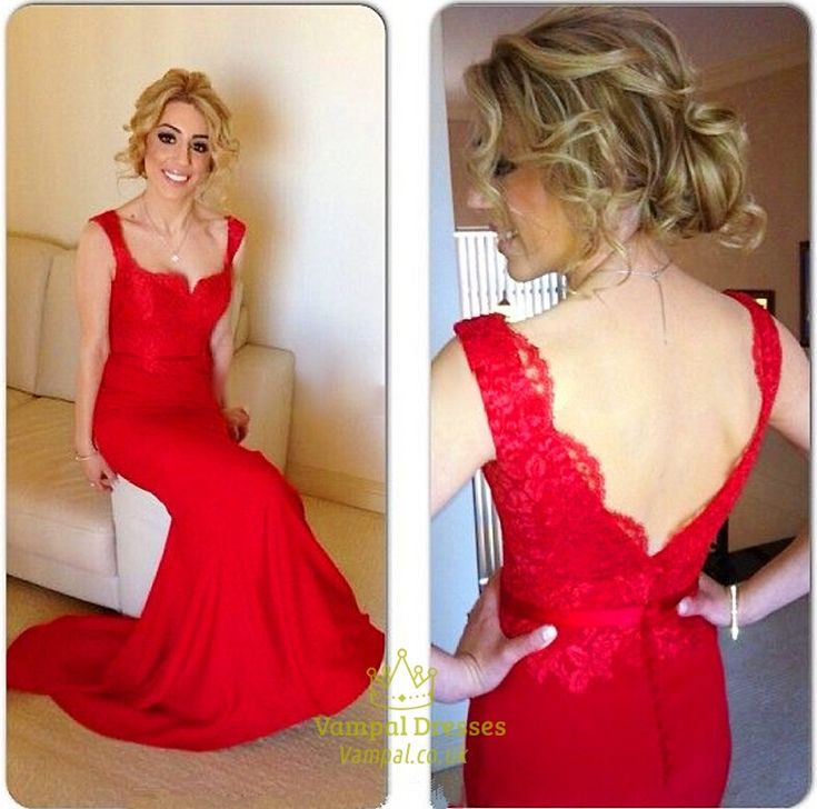 vampal.co.uk Offers High Quality Red Sleeveless Lace Bodice Sheath Mermaid Open…