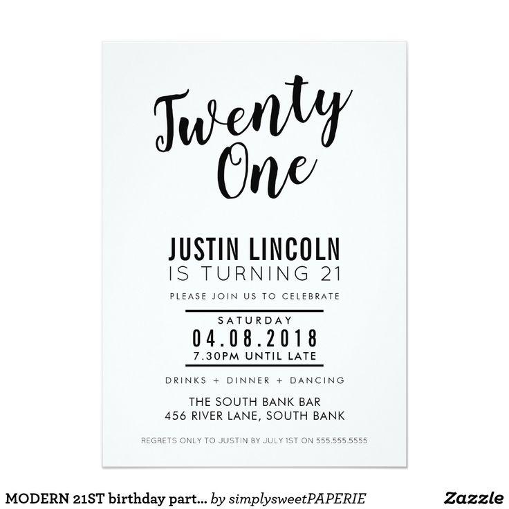 MODERN 21ST birthday party INVITE plain black #shopping  #birthdayinvitation #birthdayinvites #zazzlemade #zazzle #invites #invitations #manlyinvite #stylishinvitation #21stinvite #30thinvitation #40thinvitation