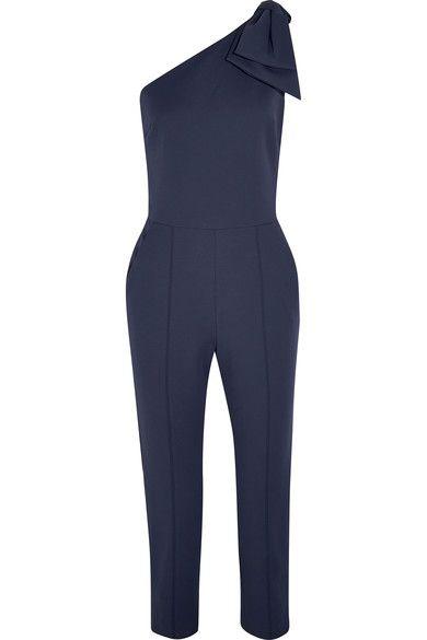 MSGM - Bow-embellished One-shoulder Cotton-blend Jumpsuit - Navy - IT