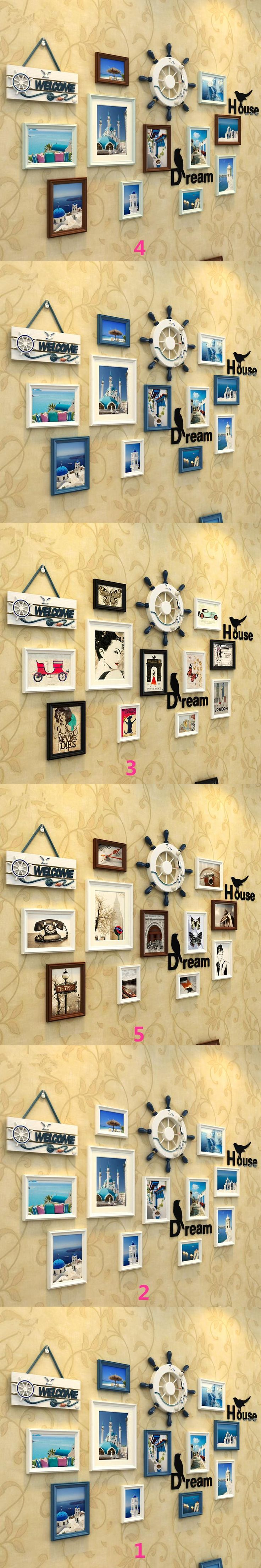 1 Set(15 pcs) Mediterranean Style Picture Photo Frame Wood  Wall Mural Photos Frames Wall Sticker DIY Home Decor   Removable