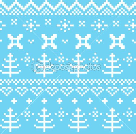 Winter Norwegian seamless knitting pattern ( blue & white ) — Ilustracja stockowa #40812099