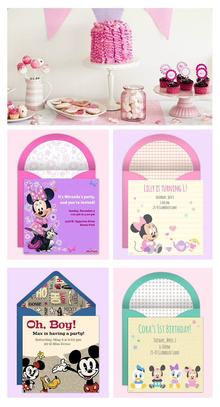 Paper invites are too formal, and emails are too casual. Get it just right with online invitations from Punchbowl. We've got everything you need for your Disney themed party. http://www.punchbowl.com/disney/groups/minnie-mouse/?utm_source=Pinterest&utm_medium=1.32P