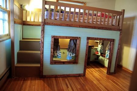 Loft bed with play area underneath.: Kids Bedrooms, The ...
