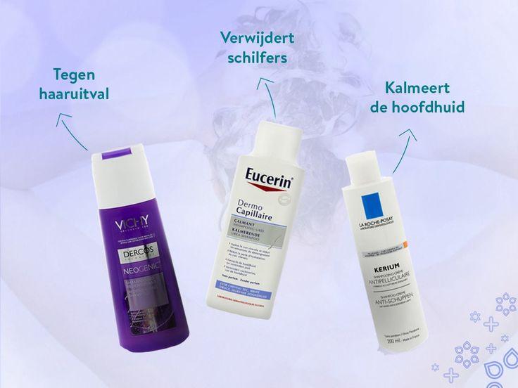 Voor elk haartype of probleem is een shampoo die helpt. Was je haar gezond!  1. Vichy Dercos Neogenic Shampoo 2. Eucerin Urea DermoCapillaire Kalmerende Shampoo 5% 3. La Roche-Posay Kerium Gel Shampoo anti-schilfers droge huid.