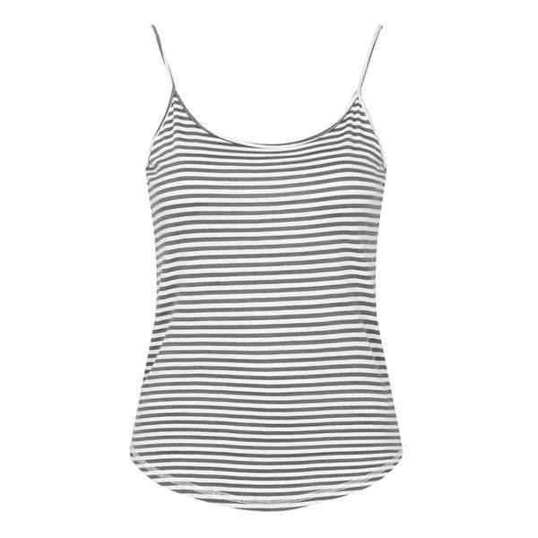 TopShop Striped Basic Strappy Vest ($18) ❤ liked on Polyvore featuring outerwear, vests, tops, white vests, vest waistcoat, white cotton vest, cotton vest and white waistcoat