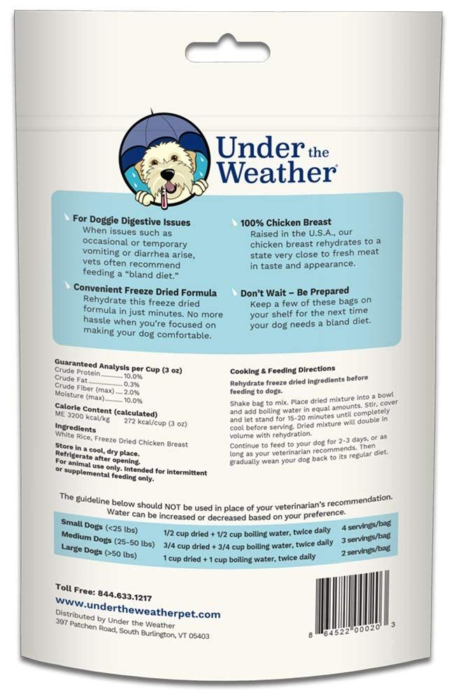 Under The Weather Bland Diet Dog Food For Sick Dogs Freeze Dried