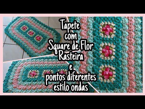 (1) Tapete com Square de Flor Rasteira e pontos diferentes estilo onda (PARTE 1) - YouTube