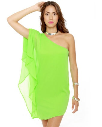 Asymmetry Hugger Neon Green Dress   Love this! So bright!