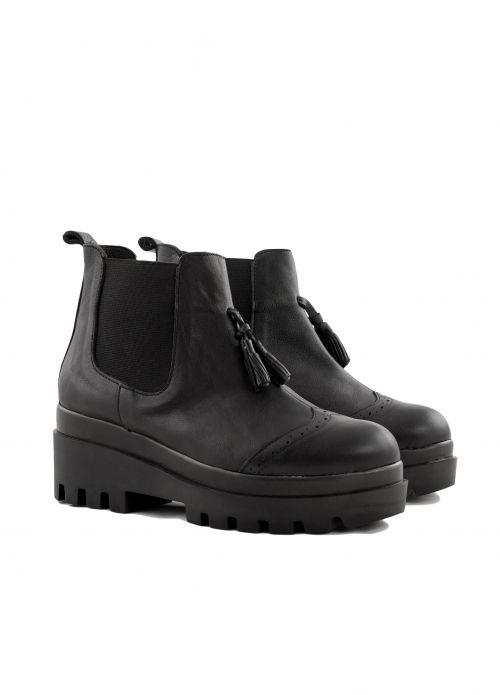 Δερμάτινα Μποτάκια με Πλατφόρμα-Μαύρο - ΓΥΝΑΙΚΕΙΑ ΠΑΠΟΥΤΣΙΑ - LUIGI FOOTWEAR